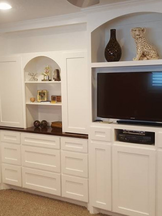 Customized home media stand & book case in Houston, TX